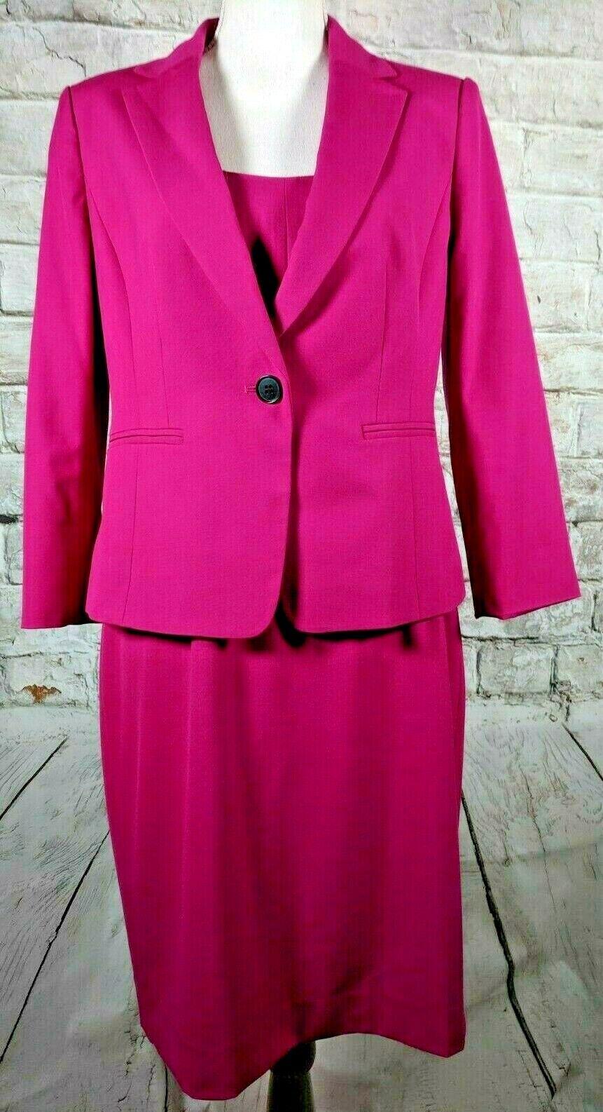 Vestido Tubo Sin Mangas Ann Taylor Traje Traje Traje Un Botón Abrigo Manga 3 4 rosado Oscuro 8 a339c8