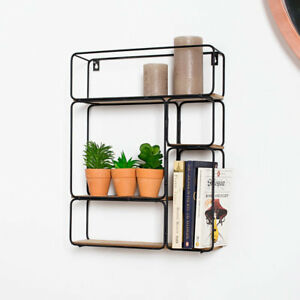 Details About Rectangle Black Wire Wood Art Deco Retro Wall Shelf Unit Shelving Display Home