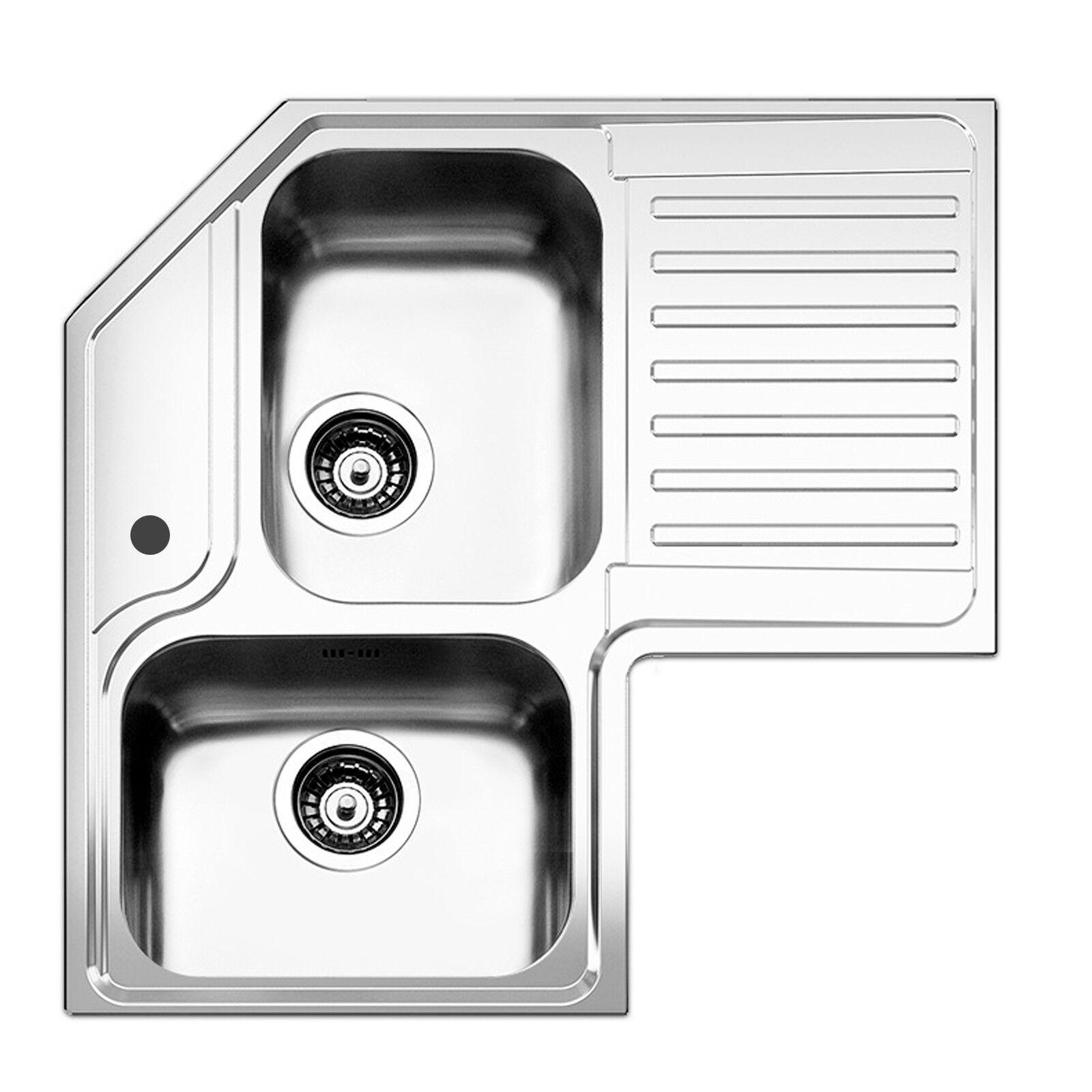 Lavello Apell angolare 83x83x50 cm con 2 vasche acciaio inox spazzolato angolare