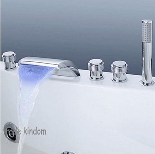LED Color 5PCS Chrome Bathtub Deck Mounted Waterfall Mixer Tap Shower Faucet Set