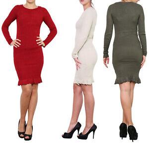 sélection premium f0479 78dfc Détails sur Robe Pull Manches longues Vêtement Moulant Hiver Femme Maille  Tricot TU