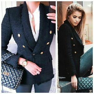 ZARA-WOMAN-BLACK-TWEED-COAT-JACKET-BLAZER-WITH-GOLD-BUTTONS-SIZE-SMALL-S-NEW