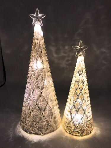 Elzet LED Tannenbaum 2er Set beschneiter Tischdeko Weihnachtsbaum Licht 53900