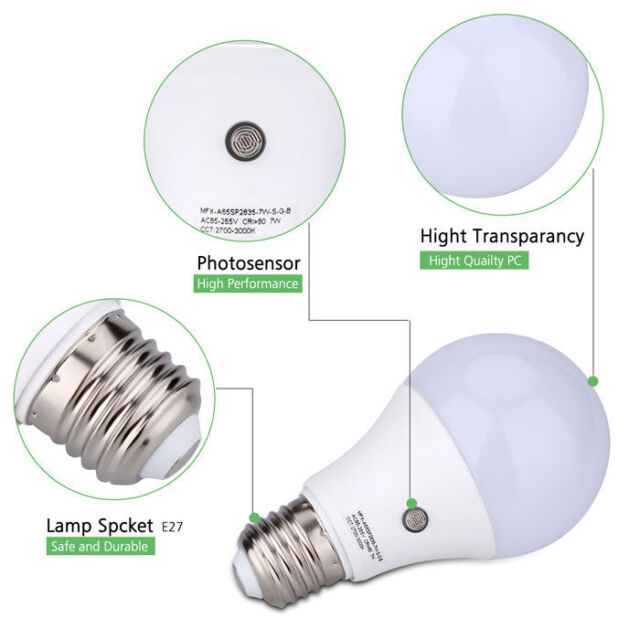 E27 9w Led Auto Sensor Light Lamp Dusk To Dawn Bulb Daylight Natural White For Sale Online