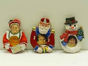 Christmas-Holiday-Ornament-Photo-Picture-Frame-Mrs-Clause-Snowman-Toy-Soldier