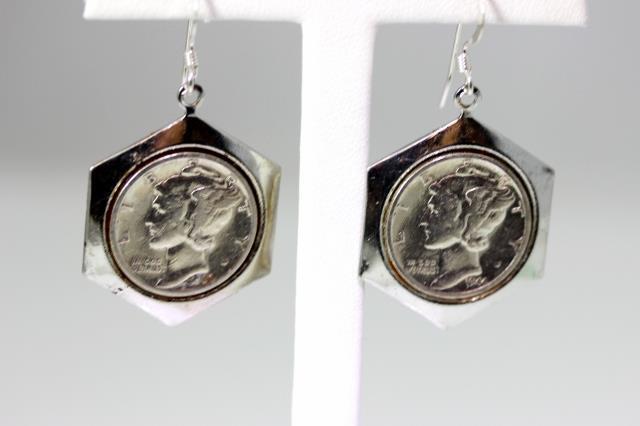 """Beautiful 1936 & 1944 Mercury Dimes Earrings in Tin Settings 1-5 8"""" – 9395"""