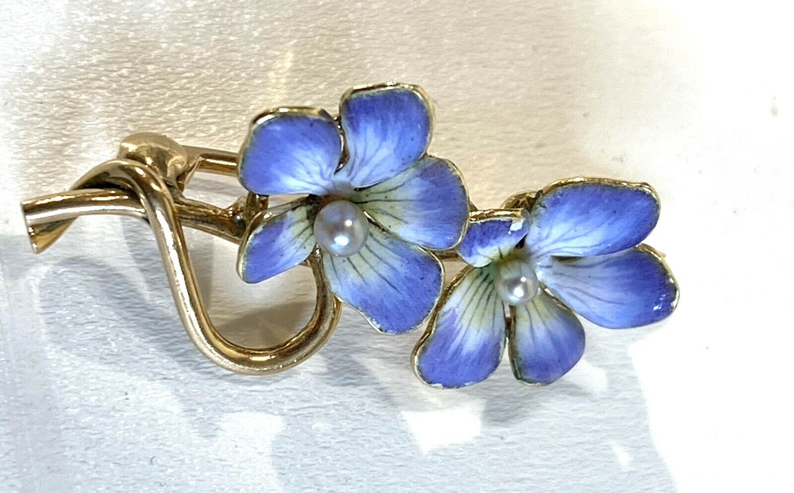 Antique Hammerman Brothers Enamel Pearl Two Pansy… - image 3