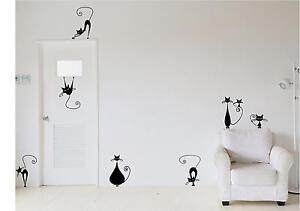 Vinilos decorativos para pared puertas cristales gatos for Precio vinilo pared