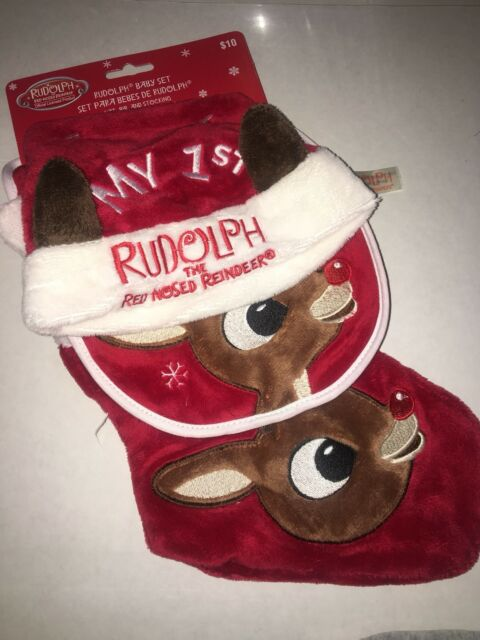 51d79f6e308 Baby Rudolph the Red Nosed Reindeer My First Hat Bib Christmas Stocking