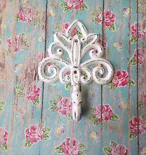 Fleur de lis Style Cast Iron White Shabby Chic French Paris Wall Decor Hook