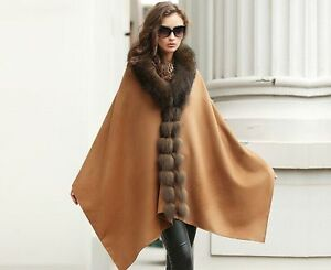 Women-Real-Cashmere-Cape-Real-Fox-Fur-Trim-Coat-Wraps-Party-Brown-Elegant-Gift