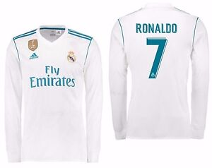 check out 85e18 16de3 Details about ADIDAS CRISTIANO RONALDO REAL MADRID LONG SLEEVE HOME JERSEY  2017/18 FIFA PATCH.
