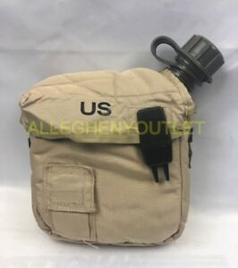 2 QT Collapsible Water Canteen W// Cover Pouch Desert Tan US Army Military