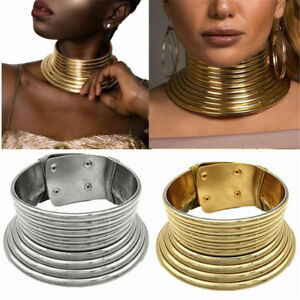 African-Jewelry-Vintage-Necklace-Metallic-Coil-Adjustable-Choker-Maxi-Collar-Hot
