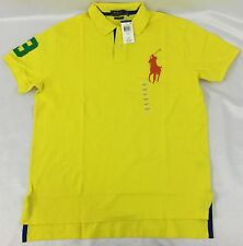 Ralph Lauren Men Custom Fit Sport Polo Shirt Number 3 Patch Yellow Blue Size S