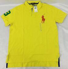 Ralph Lauren Men Custom Fit Sport Polo Shirt Number 3 Patch Yellow Blue Size S