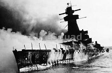 WW2 Picture Photo German battleship Admiral Graf Spee in flames Montevideo 1001