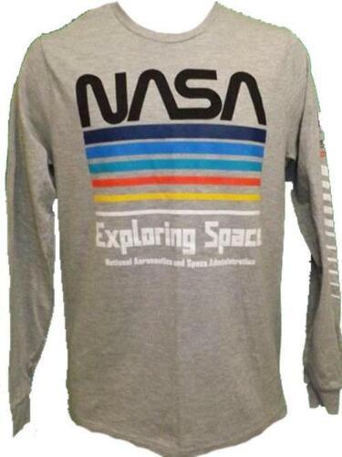 New NASA Space Adult Mens Sizes S-M-L-XL-2XL Gray Long Sleeve Shirt