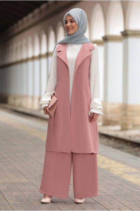 S-983 Tesettür Ikili Takim- Zweiteiliges Outfit-Hose & Jäckchen -Hijab