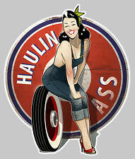 PINUP HAULIN ASS GARAGE HOT ROD USA AUTOCOLLANT STICKER 10cmX8,5cm PA063