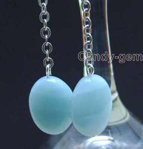 SALE-Big-13-17mm-oval-Blue-Natural-Amazonite-dangle-earring-hook-e389