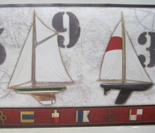 """SAILING SAILBOATS SEASHORE BOATS NAUTICAL Wallpaper Border 9/"""""""