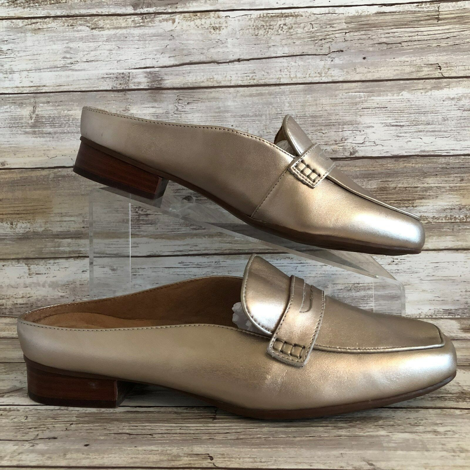Clarks Mules 10W gold Metallic Leather Moc Toe Low Stacked Block Heel Womens