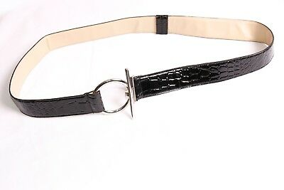S612 Skinny Stretchable Sequined Belt In Silver Colour w Diamante Beaded Buckle