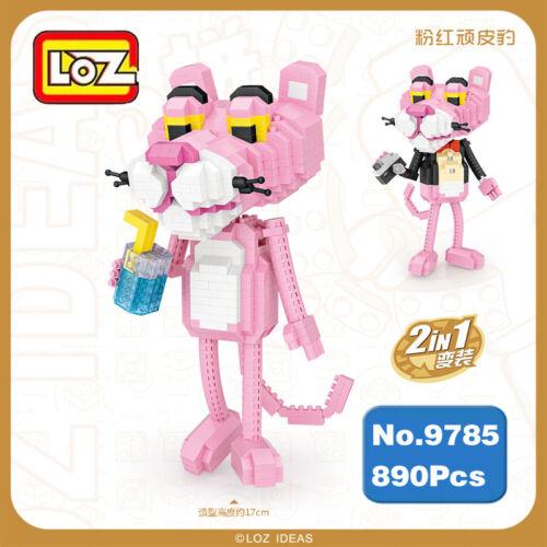 LOZ Baukästen Geschenk Pink Panther Cartoon Modell DIY Geschenke 890PCS 2-in-1
