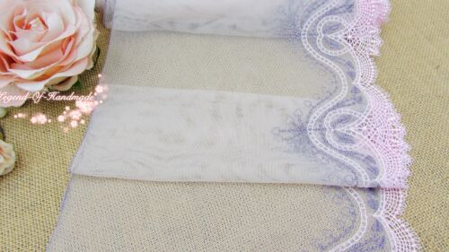 """8/""""*1Y Embroidered Tulle Lace Trim~Pinkish Beige+Baby Pink+Purple~Soft Heart~"""