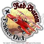 FOKKER Dr.I German Ace Richthofen RED BARON WW1 Vinyl Sticker Decal