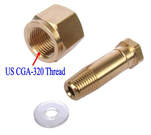 New CGA 320 CO2 Carbon Dioxide Regulator Inlet Nut & Nipple with Washer