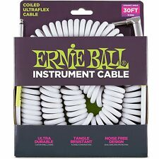 Ernie Ball 30FT 6045 Coiled / Angle Ultraflex Instrument Guitar Cable