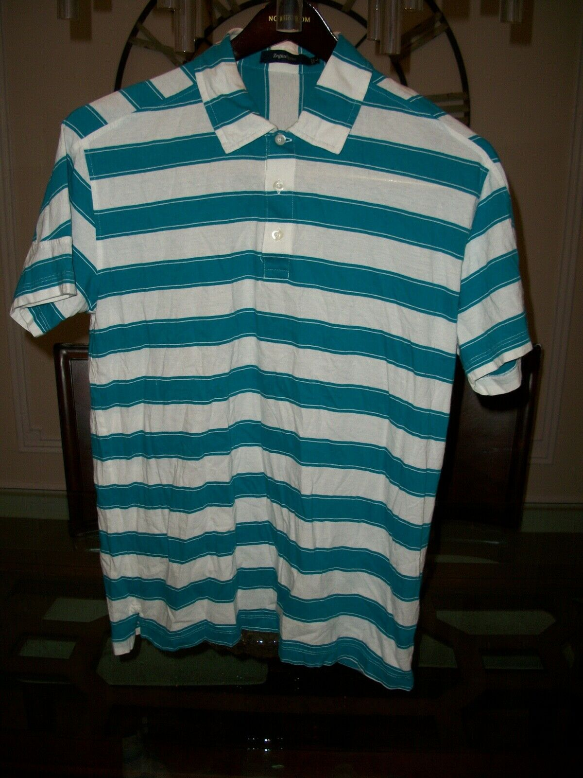 46b65634a7 Used ZEGNA SPORT teal white striped cotton s s polo shirt size L. We're ...