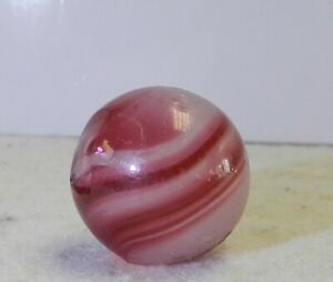 #11613m Large .83 Inches Vintage German handmade Banded Opaque Marble