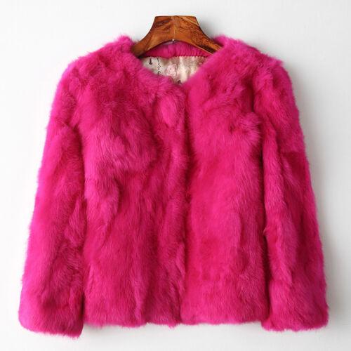 Promotion Frauen O-Neck Real Kaninchen Pelz Pelz Mantel Parka Warm Jacke Tops