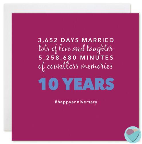 Anniversaire Carte De 10 ans dix 10th COPAIN COPINE fiancé 3652 jours ensemble