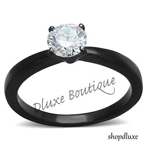 1-05-Ct-Round-Cut-AAA-CZ-Black-Stainless-Steel-Engagement-Ring-Women-039-s-Size-5-10