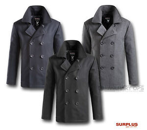 SURPLUS VINTAGE US NAVY STYLE PEA P COAT JACKET COAT WOOL NAVY BLACK GREY