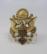military estate WWII US visor cap gold hat metal eagle pin Army Officer badge