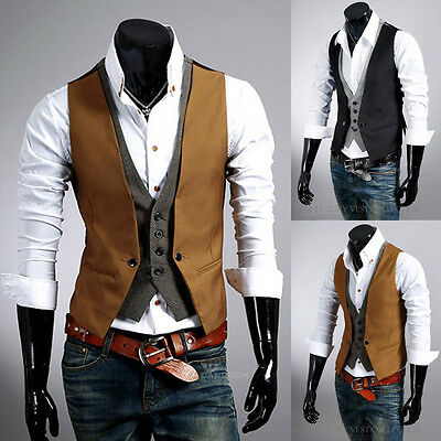 Gentle Men's Casual Spring V-neck Slim Fit Buttons Dress Vest Waistcoat 2 Colors