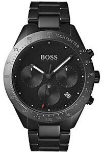 HUGO BOSS Herren Armband Uhr Talent 1513581, Chronograph Quarz Edelstahl schwarz