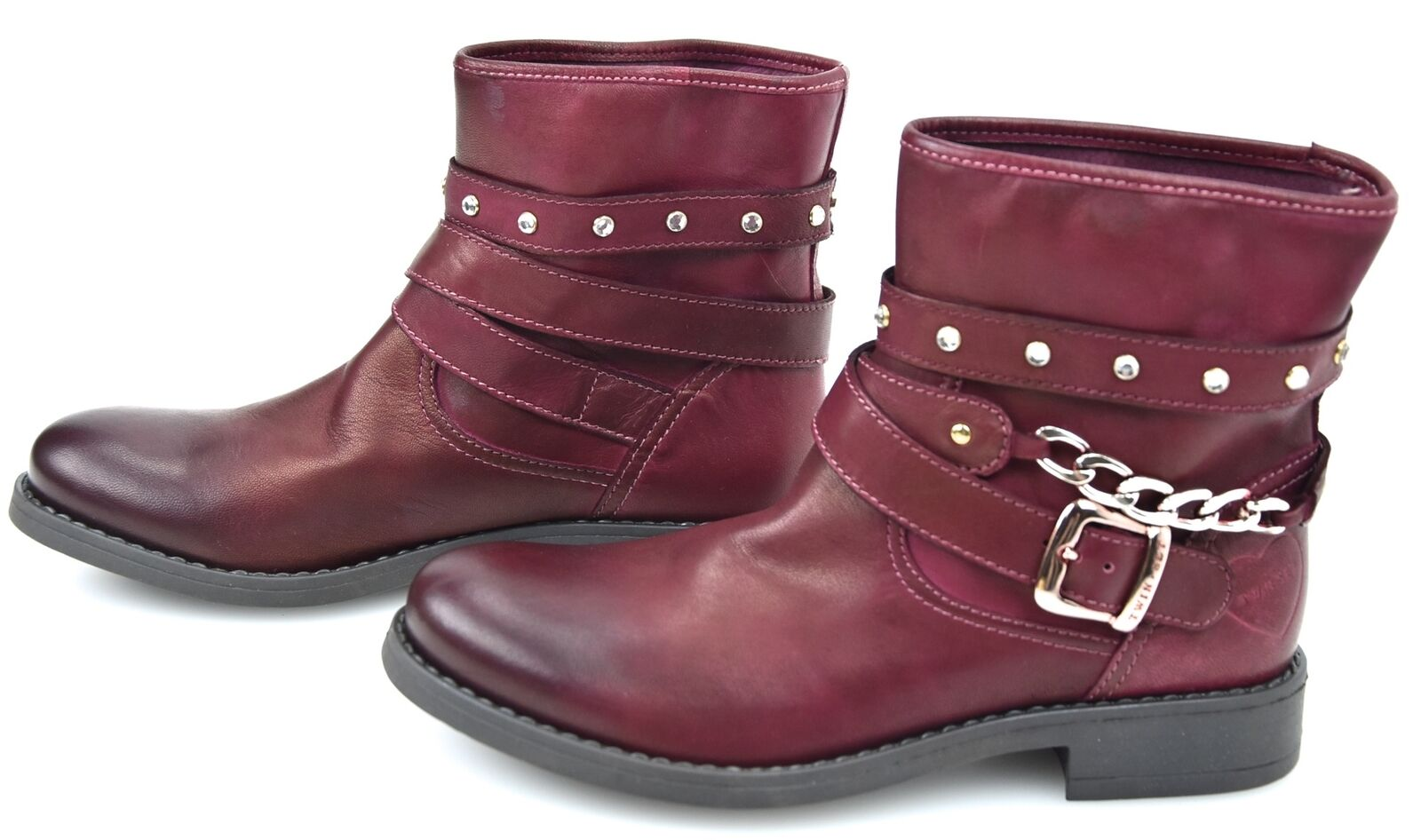 Grandes zapatos con descuento TWIN-SET STIVALE BIKER ALLA CAVIGLIA DONNA BORDEAUX ART. A4/H/H48BK DIFETTO
