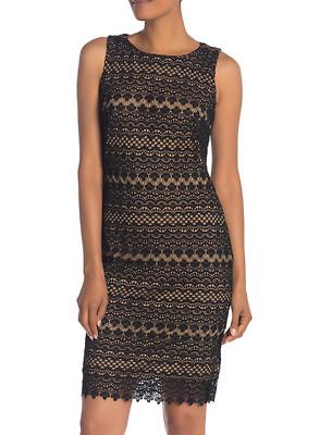 T Tahari Womens Lace Boatneck Cocktail Sheath Dress BHFO 1046