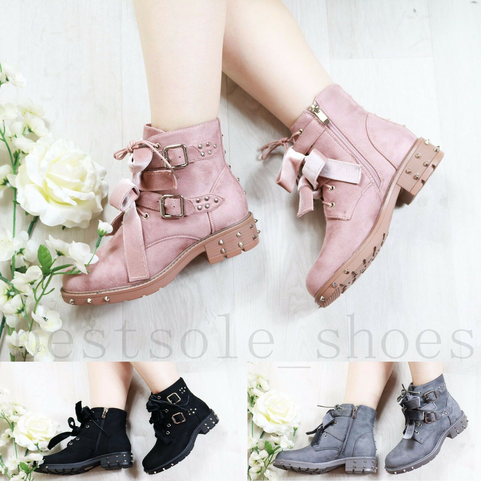 LADIES WOMENS STUDDED ARMY COMBAT FLAT GRIP SOLE WINTER ANKLE BOOTS SHOES SIZE