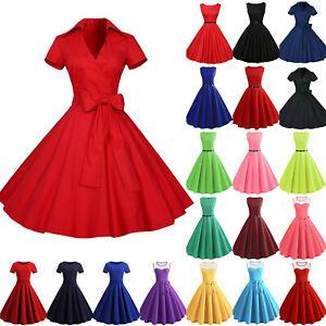 Women-039-s-Vintage-Hepburn-Belts-Solid-Rockabilly-Evening-Party-Gown-Swing-Dress