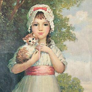 vtg girl holding cat print victorian style framed under glass