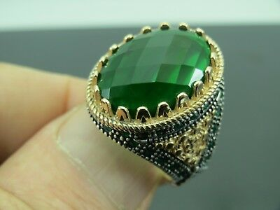 Turkish Handmade Jewelry 925 Sterling Silver Emerald Stone Men's Ring Sz 8