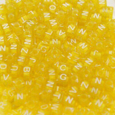Lot 100 ou 200 Perles Lettre Alphabet Cube Jaune 6mm Mixte Braclet Porte clé