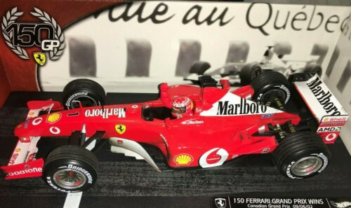1:18 Hotwheels Ferrari F2002 Michael Schumacher 2002-150 victorias Canadá-Marlboro